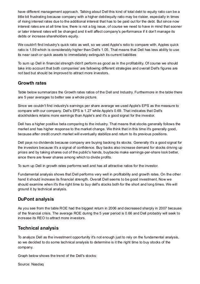 ukessays com financial analysis of dell  2 have