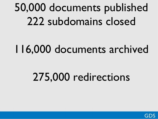 *50,000 documents published222 subdomains closed116,000 documents archived275,000 redirectionsGDS