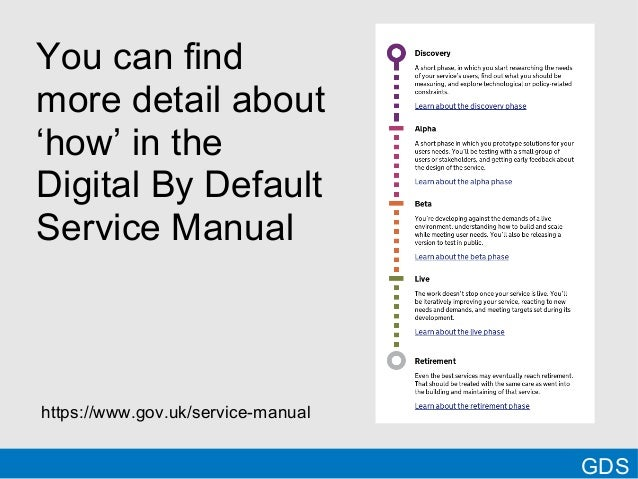 GDSYou can findmore detail about'how' in theDigital By DefaultService Manualhttps://www.gov.uk/service-manual