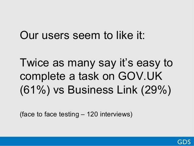 Our users seem to like it:Twice as many say it's easy tocomplete a task on GOV.UK(61%) vs Business Link (29%)(face to face...