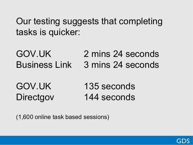 Our testing suggests that completingtasks is quicker:GOV.UK 2 mins 24 secondsBusiness Link 3 mins 24 secondsGOV.UK 135 sec...