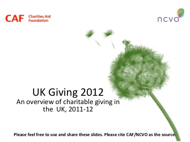 UK Giving 2012 An overview of charitable giving in         the UK, 2011-12Please feel free to use and share these slides. ...