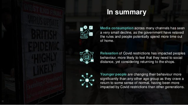 35 In summary Media consumption across many channels has seen a very small decline, as the government have relaxed the rul...
