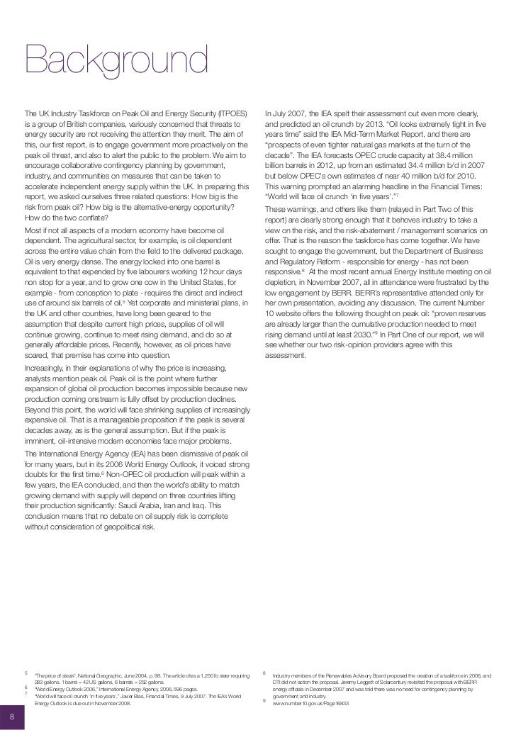Background     The UK Industry Taskforce on Peak Oil and Energy Security (ITPOES)                                         ...