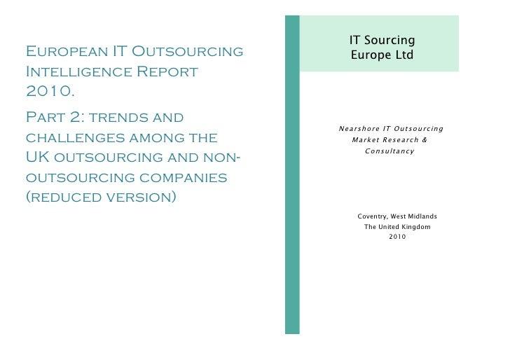 UK IT Sourcing & In-House Software Development Intelligence Report 2010