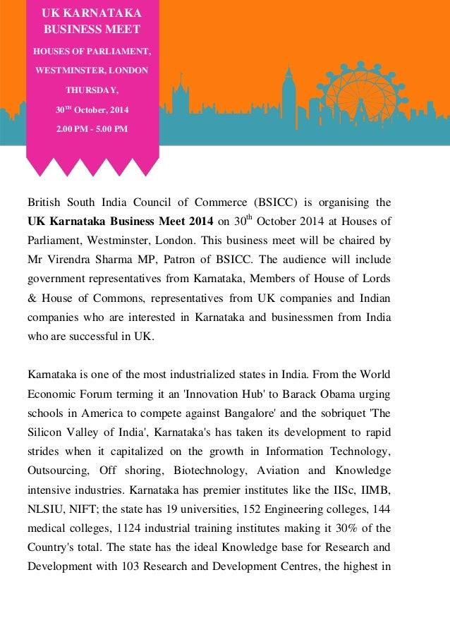 British South India Council of Commerce (BSICC) is organising the UK Karnataka Business Meet 2014 on 30th October 2014 at ...