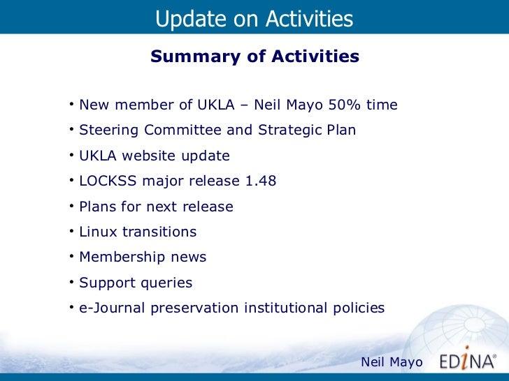 UKLA Update On Activities Slide 2