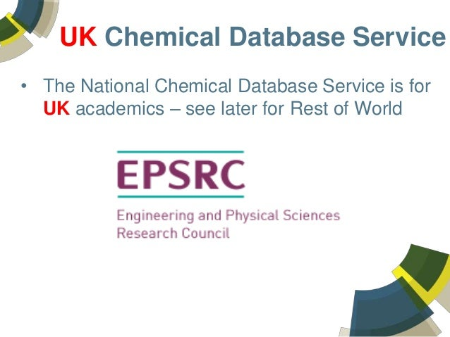 The UK National Chemical Database Service – an integration of commercial and public chemistry services to support chemists in the United Kingdom Slide 2
