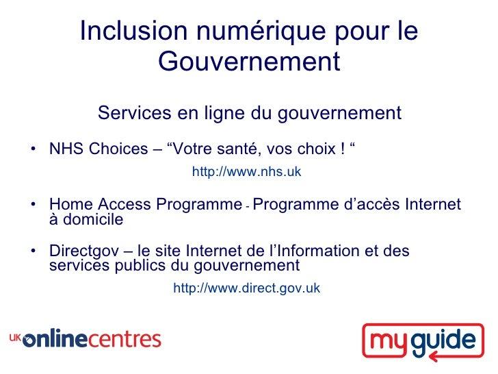 """Inclusion numérique pour le              Gouvernement          Services en ligne du gouvernement • NHS Choices – """"Votre sa..."""