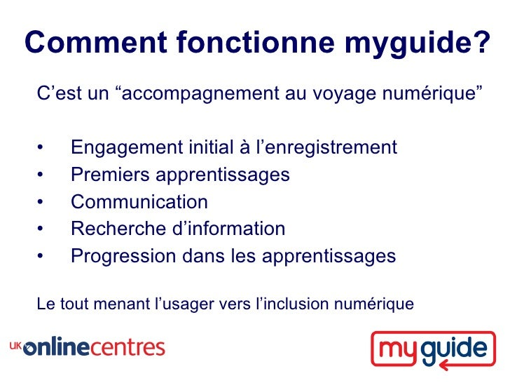 """Comment fonctionne myguide? C'est un """"accompagnement au voyage numérique""""  •   Engagement initial à l'enregistrement •   P..."""