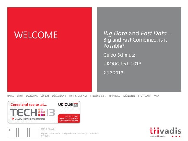 WELCOME  Big Data and Fast Data – Big and Fast Combined, is it Possible? Guido Schmutz UKOUG Tech 2013 2.12.2013  BASEL  1...