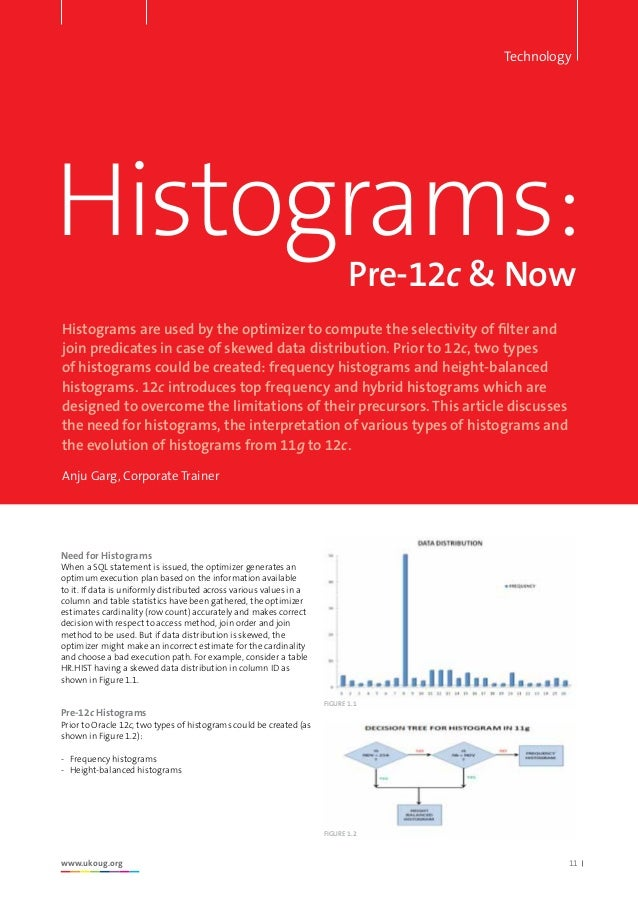 Header here www.ukoug.org 11 Histograms: Histograms are used by the optimizer to compute the selectivity of filter and joi...