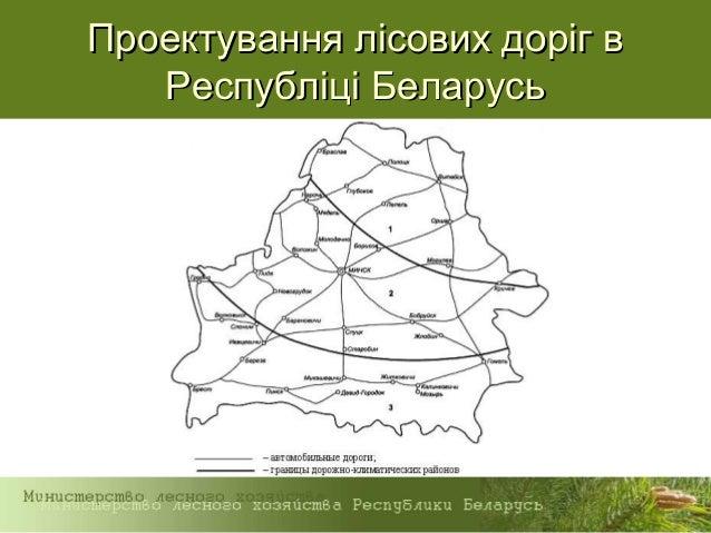 Проектування лісових доріг вПроектування лісових доріг в Республіці БеларусьРеспубліці Беларусь