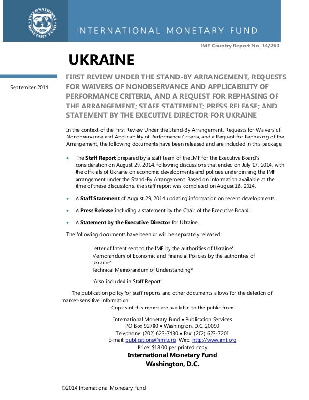 ©2014 International Monetary Fund  IMF Country Report No. 14/263  UKRAINE  FIRST REVIEW UNDER THE STAND-BY ARRANGEMENT, RE...