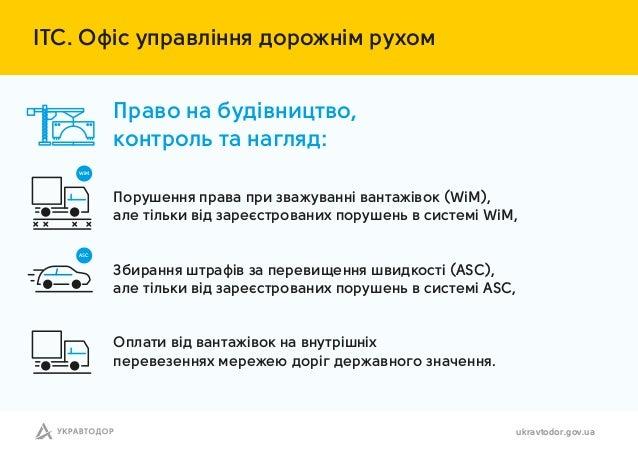 ІТС. Офіс упр влінн дорожнім рухом ukravtodor.gov.ua Порушенн пр в при зв жув нні в нт жівок (WiM), ле тільки від з реєстр...