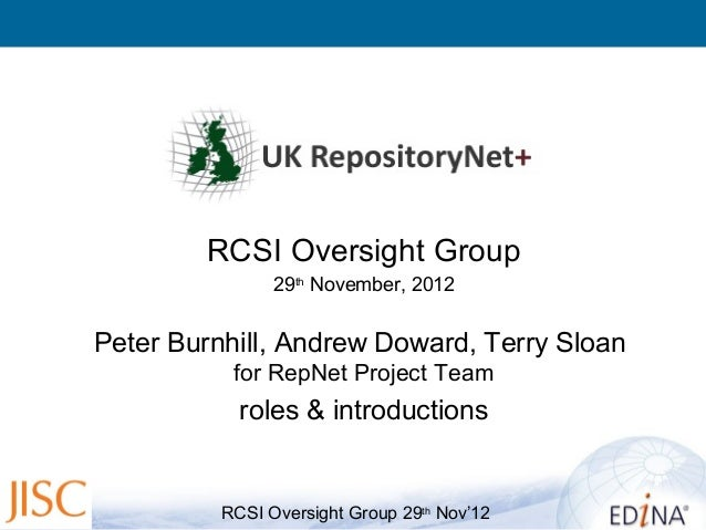 RCSI Oversight Group                29th November, 2012Peter Burnhill, Andrew Doward, Terry Sloan           for RepNet Pro...