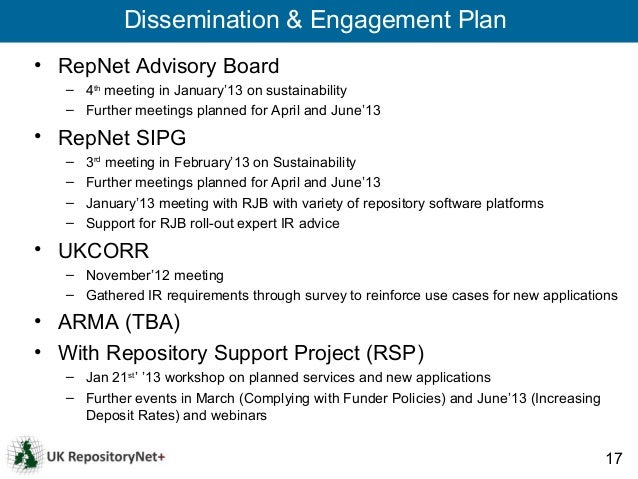 Dissemination & Engagement Plan• RepNet Advisory Board   – 4th meeting in January'13 on sustainability   – Further meeting...