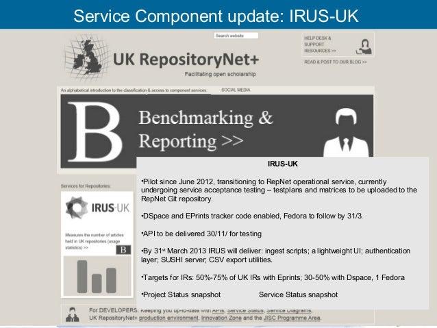 Service Component update: IRUS-UK                                                 IRUS-UK       •Pilot since June 2012, tr...
