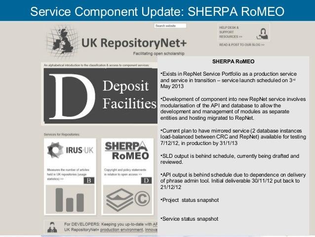 Service Component Update: SHERPA RoMEO                                                SHERPA RoMEO                        ...