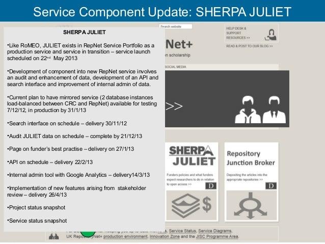 Service Component Update: SHERPA JULIET                       SHERPA JULIET•Like RoMEO, JULIET exists in RepNet Service Po...