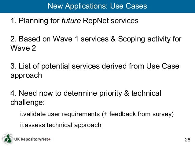 New Applications: Use Cases1. Planning for future RepNet services2. Based on Wave 1 services & Scoping activity forWave 23...