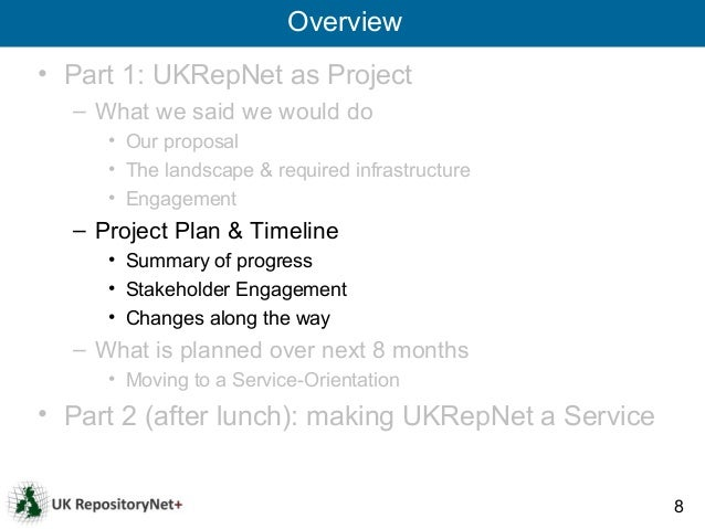 Overview• Part 1: UKRepNet as Project  – What we said we would do     • Our proposal     • The landscape & required infras...
