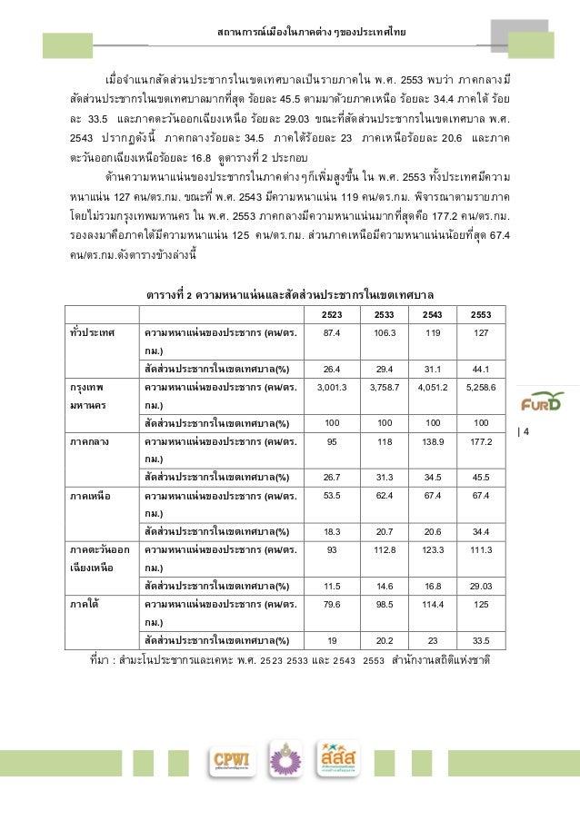 สถานการณ์เมืองในภาคต่างๆของประเทศไทย    4  เมืÉอจำแนกสัดส่วนประชากรในเขตเทศบาลเป็นรายภาคใน พ.ศ. 2553 พบว่า ภาคกลางมี  สัดส...