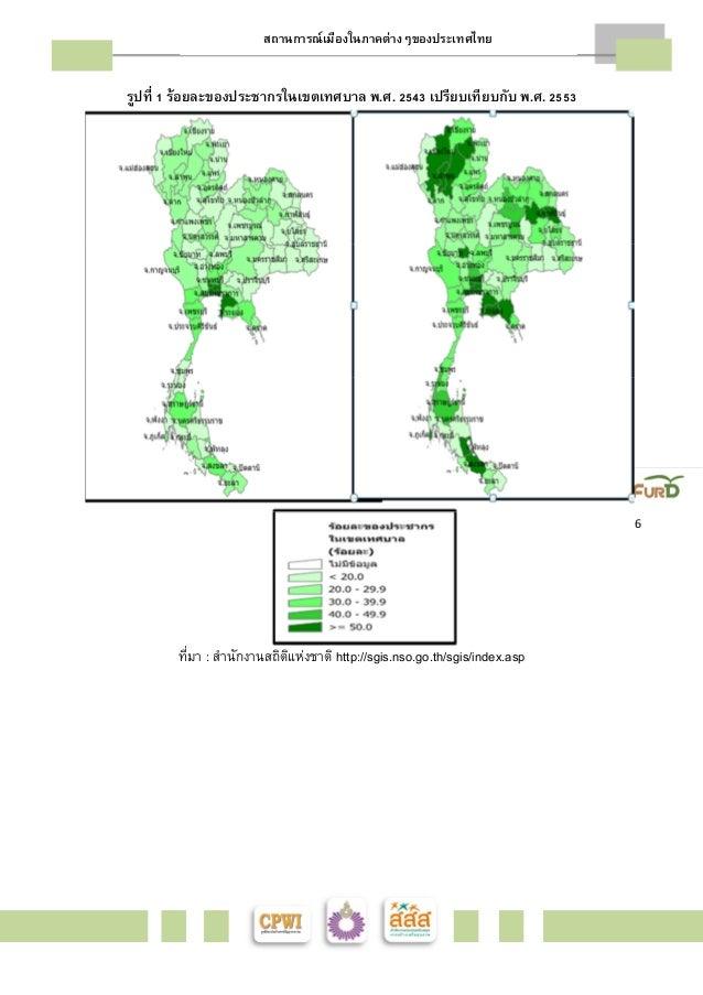 สถานการณ์เมืองในภาคต่างๆของประเทศไทย    6  รูปทีÉ ř ร้อยละของประชากรในเขตเทศบาล พ.ศ. ŚŝŜś เปรียบเทียบกับ พ.ศ. Śŝŝś  ทีมÉา ...