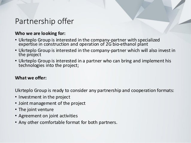 Partnership offer Who we are looking for: • Ukrteplo Group is interested in the company-partner with specialized expertise...