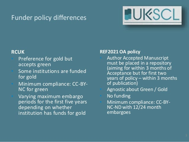 United Kingdom Scholarly Communications model policy and Licence - UK-SCL - update 2017 10 22 Slide 3
