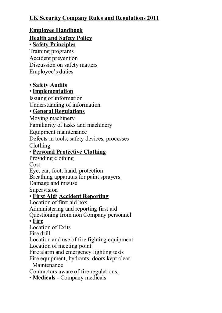 company rules and regulations pdf