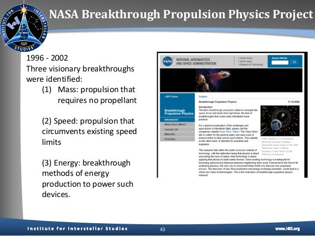 Breakthrough Propulsion Physics Program