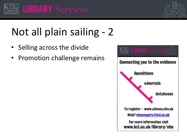 Not all plain sailing - 2 • Selling across the divide • Promotion challenge remains