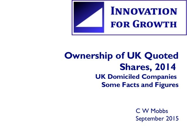 Ownership of UK Quoted Shares, 2014 UK Domiciled Companies Some Facts and Figures C W Mobbs September 2015