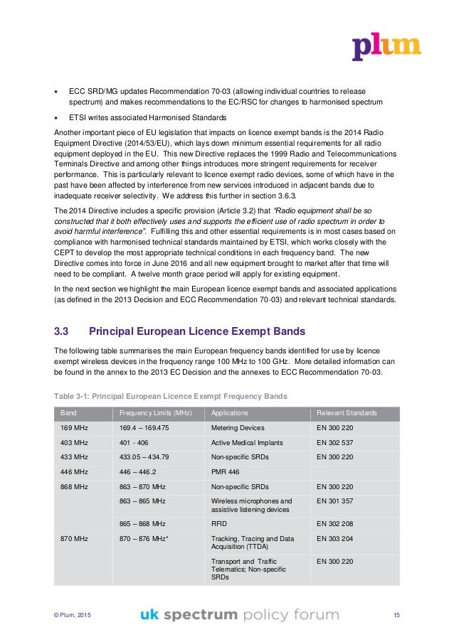 © Plum, 2015 15  ECC SRD/MG updates Recommendation 70-03 (allowing individual countries to release spectrum) and makes re...