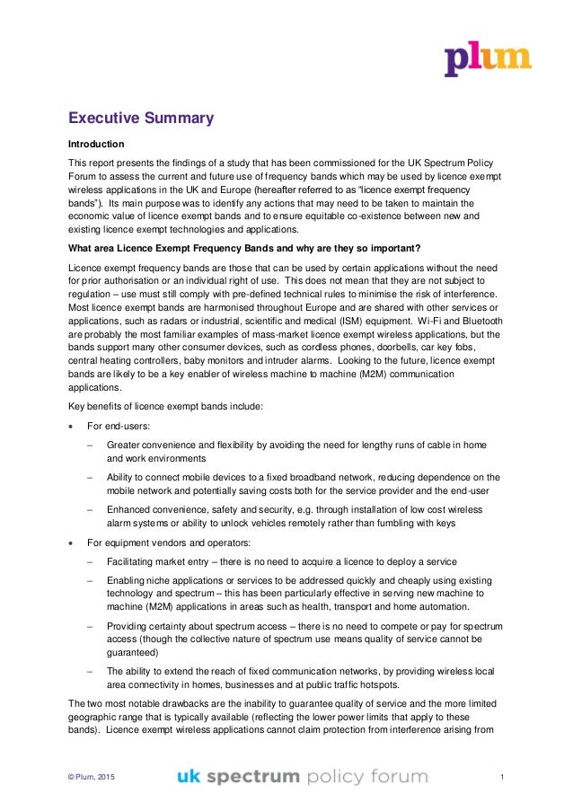 © Plum, 2015 1 Executive Summary Introduction This report presents the findings of a study that has been commissioned for ...