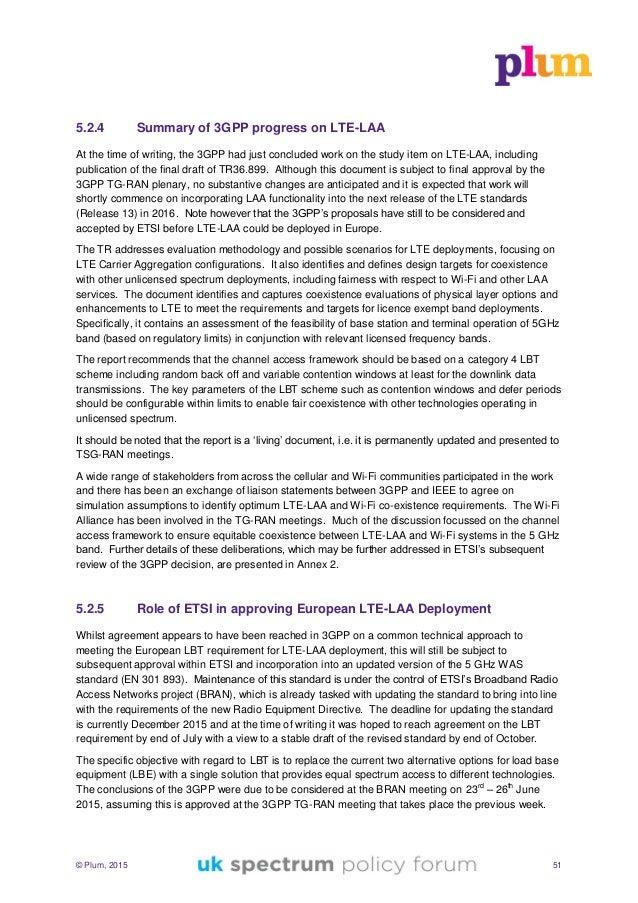 UK Spectrum Policy Forum - Report on future use of licence exempt radio spectrum