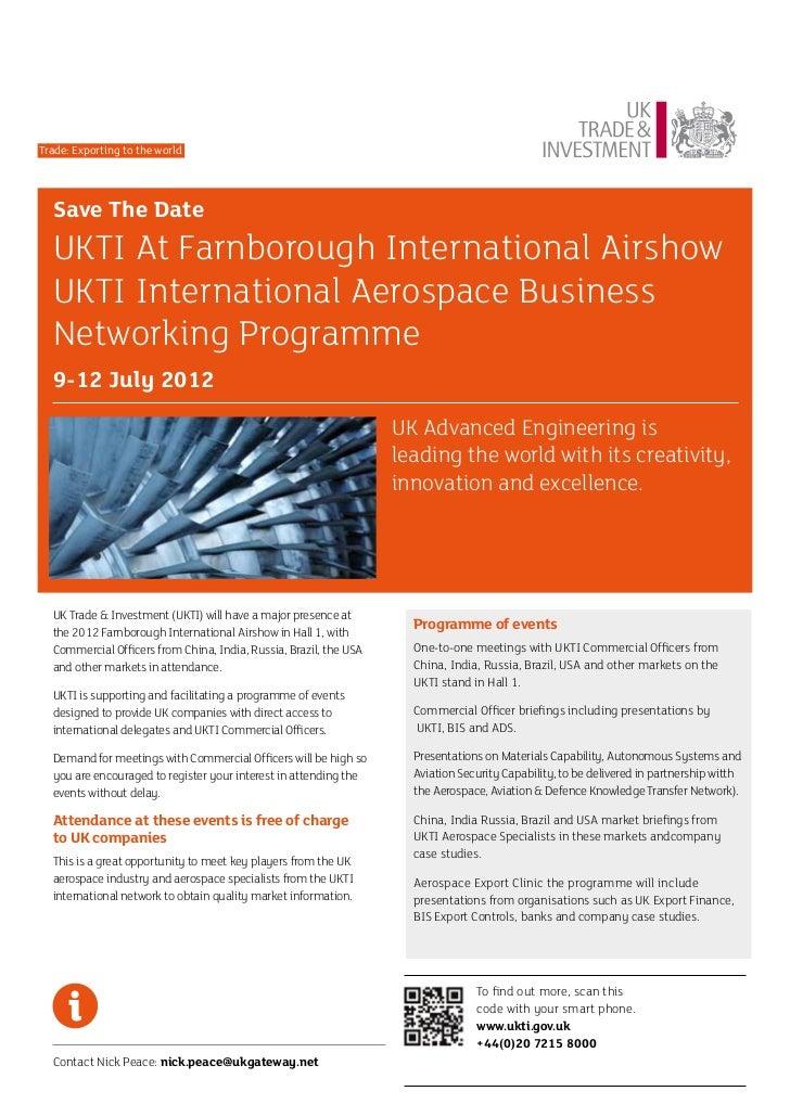Trade: Exporting to the world  Save The Date  UKTI At Farnborough International Airshow  UKTI International Aerospace Busi...