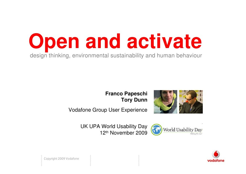 Open and activate design thinking, environmental sustainability and human behaviour                                       ...