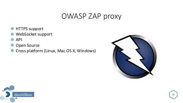 OWASPZAPproxy 13 HTTPSsupport WebSocketsupport API OpenSource Crossplatform(Linux,MacOSX,Windows)