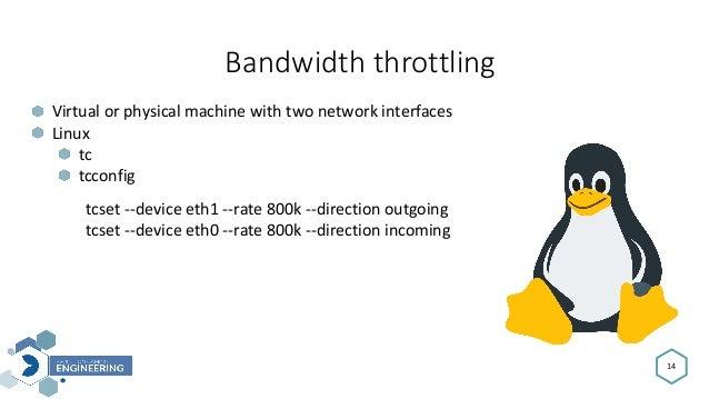 Bandwidththrottling 14 Virtualorphysicalmachinewithtwonetworkinterfaces Linux tc tcconfig tcset--deviceeth1--ra...