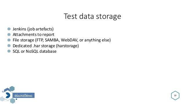 Testdatastorage 19 Jenkins(jobartefacts) Attachmentstoreport Filestorage(FTP,SAMBA,WebDAV,oranythingelse) Ded...
