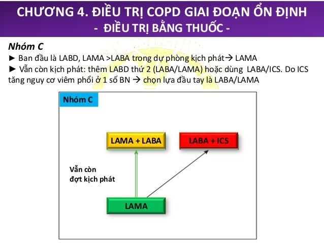 Nhóm D ► Khuyến cáo dùng LABA/LAMA. ► Chọn lựa đầu tay LABA/ICS: nếu ACOS ► Vẫn còn đợt kịch phát: LABA/LAMA/ICS. Đang ngh...