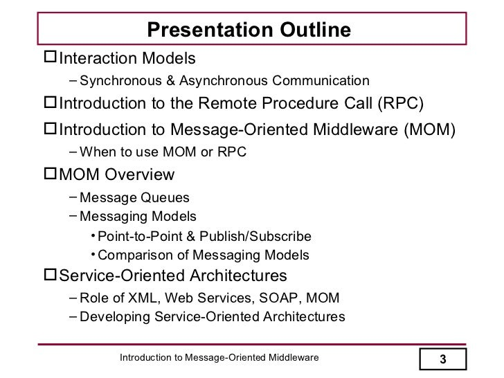 Introduction to Message-Oriented Middleware Slide 3