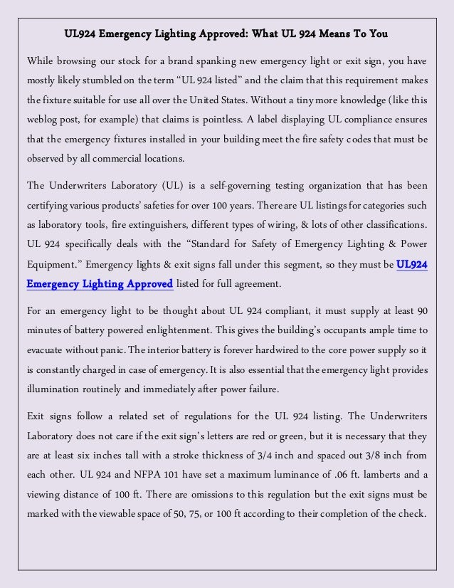 ul924 emergency lighting approved what ul 924 means to you