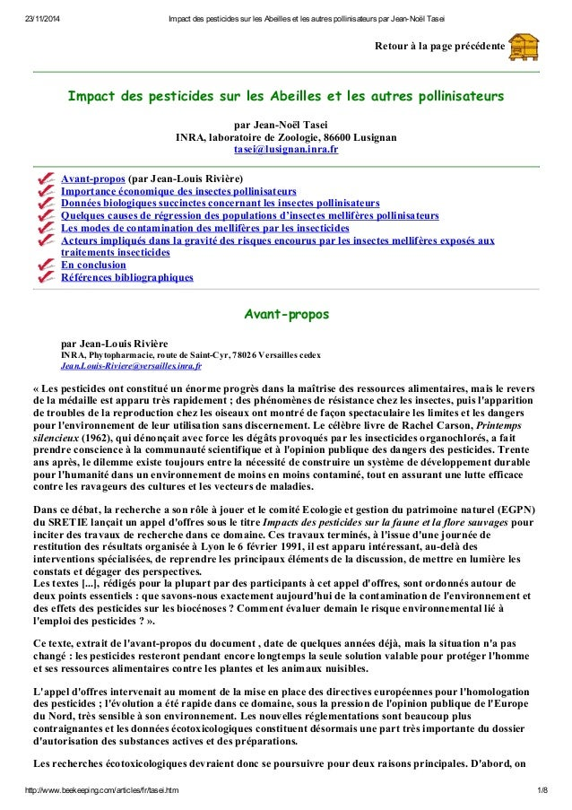 23/11/2014 Impact des pesticides sur les Abeilles et les autres pollinisateurs par Jean-Noël Tasei  Retour à la page précé...