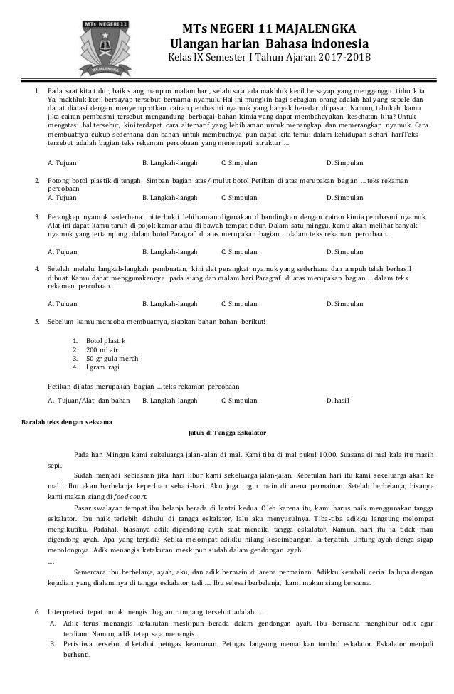 Soal Penilaian Harian Bahasa Indonesa Kelas Ix Semester I Kur 2013