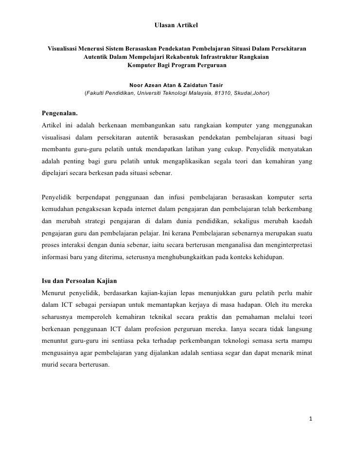 Ulasan Artikel     Visualisasi Menerusi Sistem Berasaskan Pendekatan Pembelajaran Situasi Dalam Persekitaran              ...