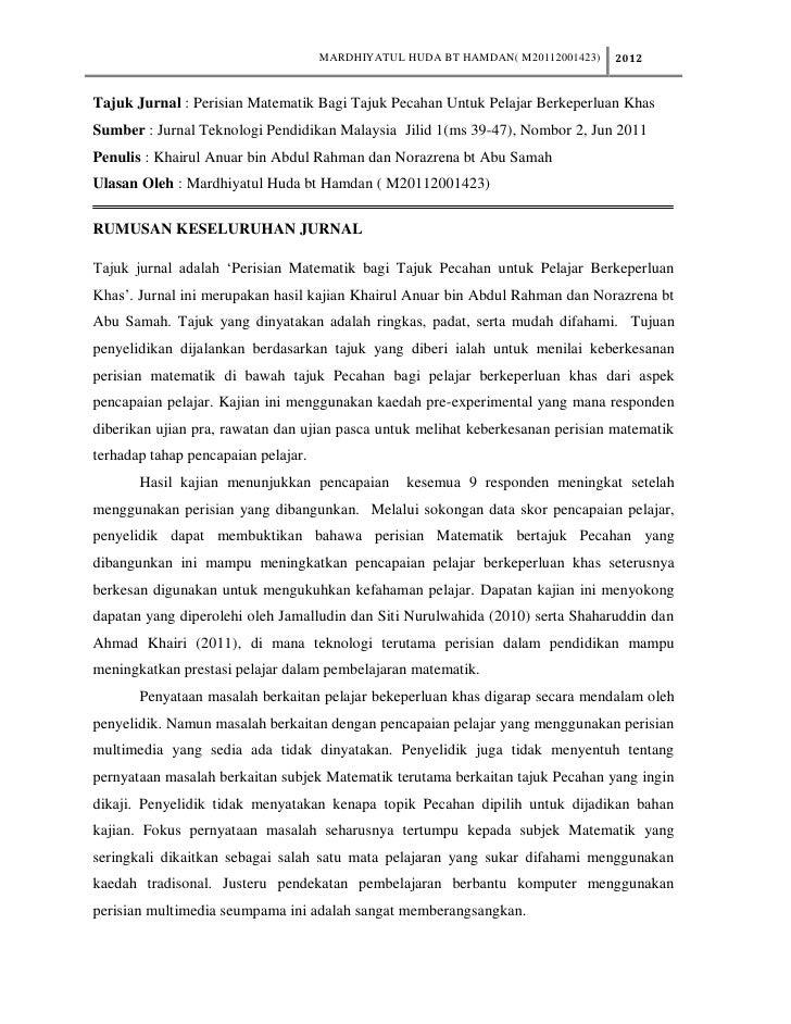 MARDHIYATUL HUDA BT HAMDAN( M20112001423)   2012Tajuk Jurnal : Perisian Matematik Bagi Tajuk Pecahan Untuk Pelajar Berkepe...