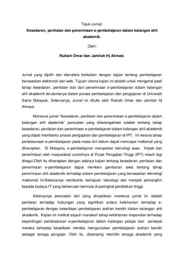 Tajuk Jurnal:  Kesedaran, penilaian dan penerimaan e-pembelajaran dalam kalangan ahli                                    a...